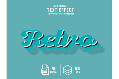 Retro Text Effect Template Editable ice