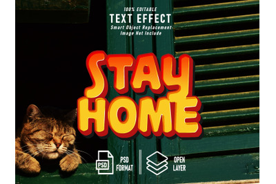 Stay Home Text Effect Template Editable Image Not Include