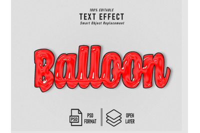Balloon Red Text Effect Template Editable