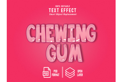 Chewing Gum Pink Text Effect Template Editable