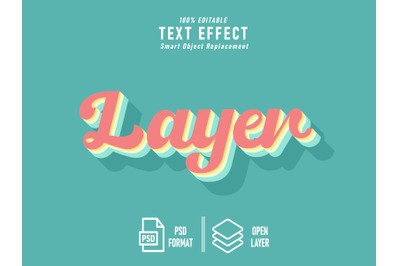 Layer Vintage Blue Text Effect Template Editable