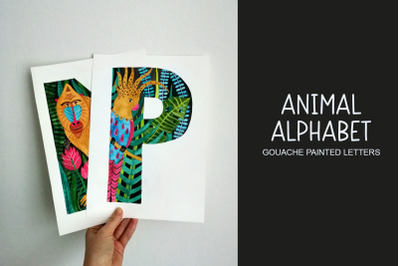 Animal alphabet. Hand painted letters