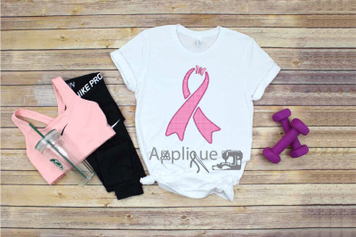Applique Survivor Pink Butterfly Ribbon breast cancer woman awareness