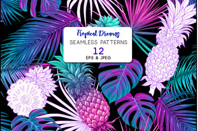 Tropical plants and flowers. Seamless pattern