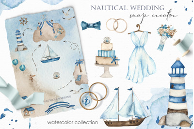 Nautical wedding map creator. Watercolor clipart
