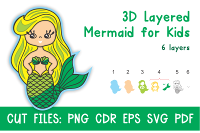 3D Layered Mermaid for Kids. Cut files