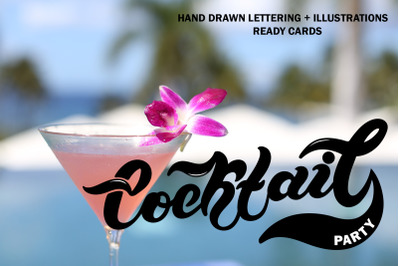 Cocktail Party Set. Lettering