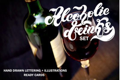 Alcoholic Drinks Set. Lettering