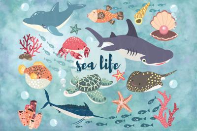 Cute Ocean Sea life Set