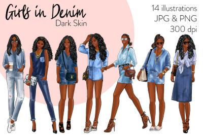 Watercolor Fashion Clipart - Girls in Denim 2 - Dark Skin