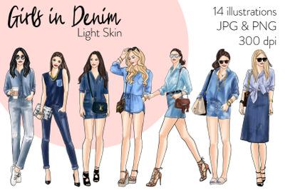 Watercolor Fashion Clipart - Girls in Denim 2 - Light Skin