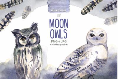 Moon owls cliparts