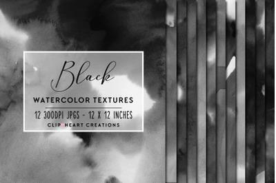 Black Watercolor Digital Papers