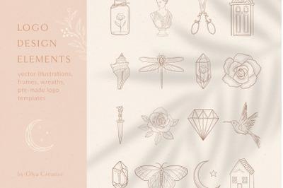 Logo Design Elements, Pre-made Logo Templates.
