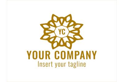 Logo Gold Vector Ornament Flower Motifs