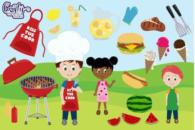 Backyard BBQ Clipart, Summer Camp Clip Art Dad Grill Graphic