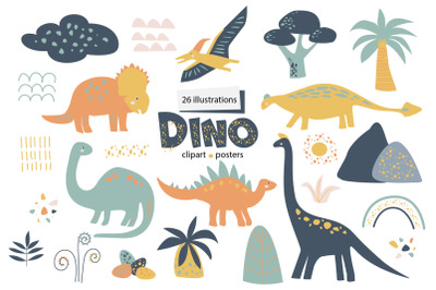 Dino clipart Posters