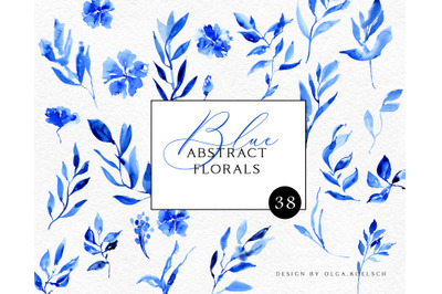 Abstract blue floral clipart. Watercolor blue foliage  for wedding