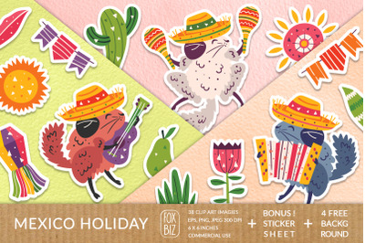Mexico party clipart. Digital prints, stickers. Hand drawn.