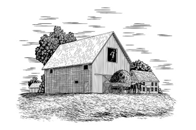 Woodcut Hay Farmers