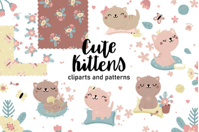 Cute kitten clipart and patterns