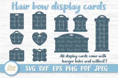 Hair bow card svg, Hair bow card template, Bow display cards