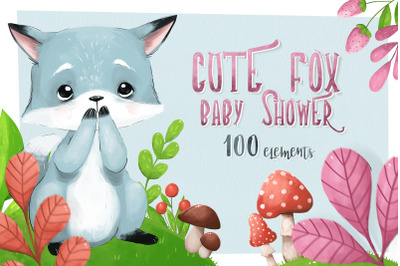 CUTE FOX - baby shower set