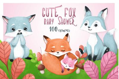 CUTE FOX - baby shower set