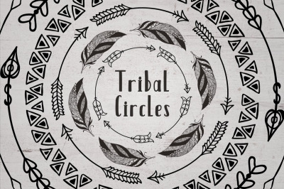 Set of Hand Drawn Tribal Circles. Decorative Geometric Logo Elements.