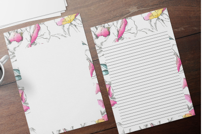 Colorful Watercolor Floral Stationery, Lined Digital Note Paper