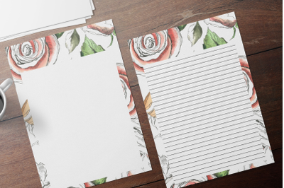 Rose Watercolor Floral Stationery, Lined Digital Note Paper