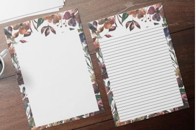Autumn Watercolor Floral Stationery, Lined Digital Note Paper