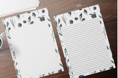 Watercolor Floral Stationery, Lined Digital Note Paper