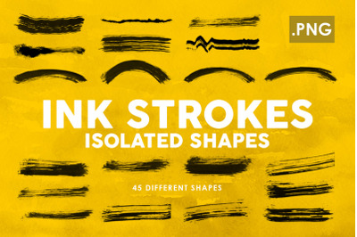 Ink Strokes PNG Shapes