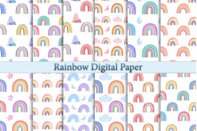 Watercolor rainbow digital paper. Hand painted geometric natural shape