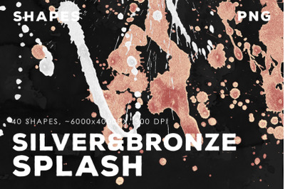 PNG Bronze&Silver Paint Splashes