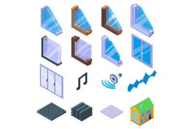 Soundproofing icons set, isometric style