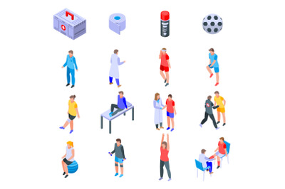 Sports doctor icons set, isometric style