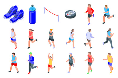 Running icons set, isometric style