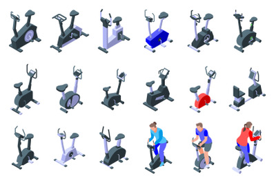 Exercise bike icons set, isometric style