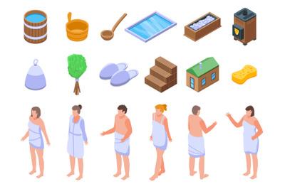 Sauna icons set, isometric style