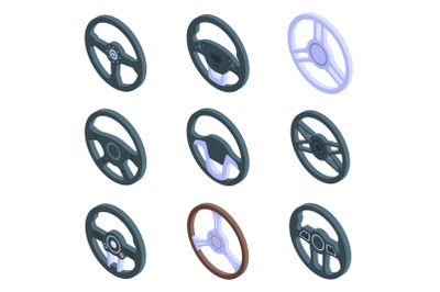 Steering wheel icons set, isometric style