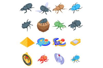 Scarab beetle icons set, isometric style
