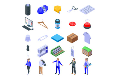 Textile production icons set, isometric style