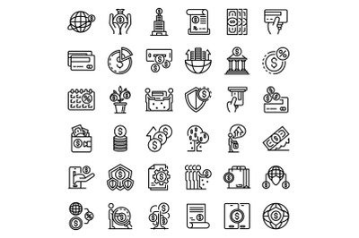 Credit union icons set, outline style