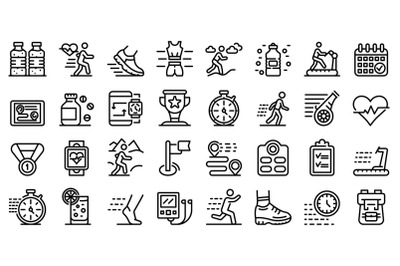 Running icons set, outline style