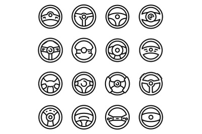 Steering wheel icons set, outline style