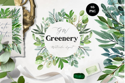 Watercolor Greenery & Frames clipart