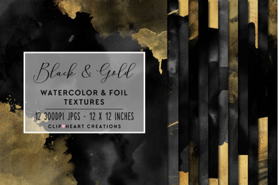 Black & Gold Watercolor and Foil Digital Papers