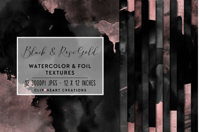 Black & Rose Gold Watercolor and Foil Digital Papers